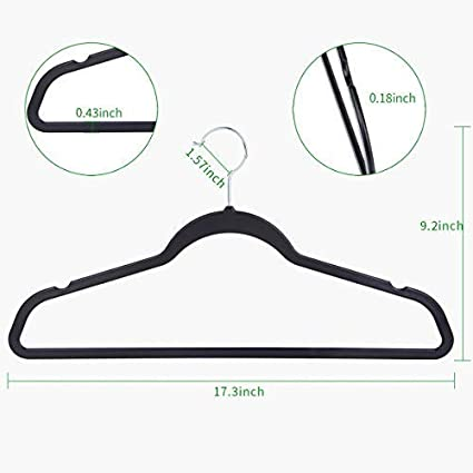 OIKA Clothes Hangers 50 Pack Bendable Plastic Hangers-Light-Weight and Thin Hangers with Non-Slip Grooves-Suitable for Wet and Dry Weather,Black