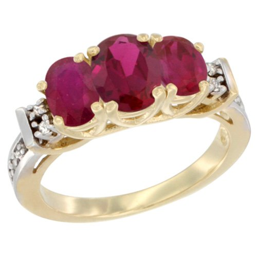 14K Yellow Gold Natural Ruby Ring 3-Stone Oval Diamond Accent, size 5.5 14k Yellow Gold Natural Ruby