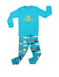 "Elowel Little Boys ""Whale Fish"" 2 Piece Pajama Set 100% Cotton (6M-8 Years)"