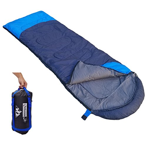 Outdoorsman Lab Sleeping Bag | Lightweight Backpacking & Camping Sleeping Bag for Adults & Kids | 3 Season, Durable Ripstop Nylon, Tear & Water-Resistant Shell | Includes Compression Sack (Dark Blue)