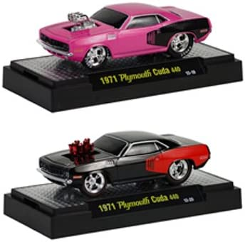 Ground Pounders 1971 Plymouth Cuda 440 2pc Car Set Release 11D IN BLISTER PACK 1//64 by M2 Machines 81161-11D