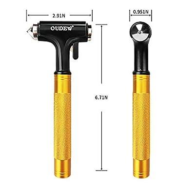 OUDEW Glass Breaker,Escape Tool, Window Hammer, Metal Car Safety Hammer, with Hard Alloy Head Window Breaker Seat Belt Cutter (1PCS): Automotive