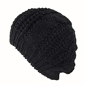 782d2513a32 Image Unavailable. Image not available for. Color  Women s Lady Beret  Braided Baggy Beanie Crochet Warm Winter Hat Ski Cap Wool Knitted Boina  Feminina