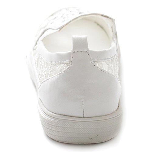Flat Slip on Lace Ollio Sneaker Shoe White Women's E6qWxz4g