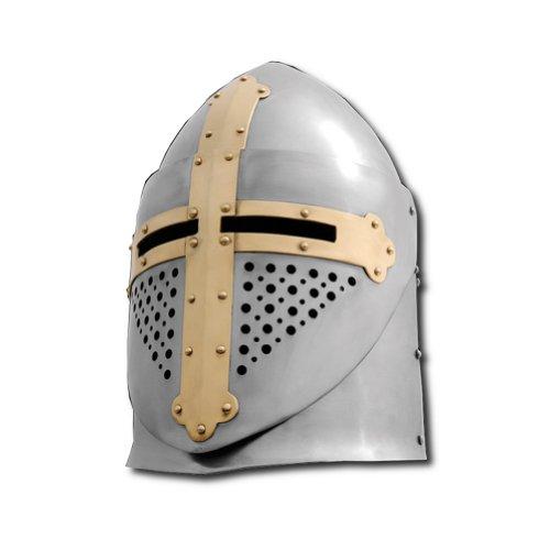 Armor Venue Pot Helmet with Visor - 14 Gauge Steel SCA Ready - Metallic - Large