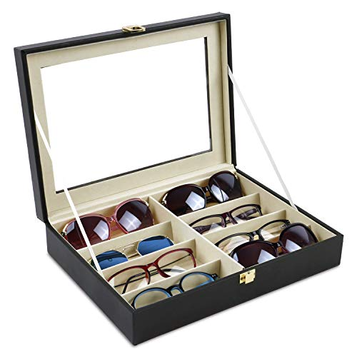 Mooca 8 Slots Deluxe Leatherette Multi Sunglasses Case Holder Jewelry Watch Organizer with Clear View Top