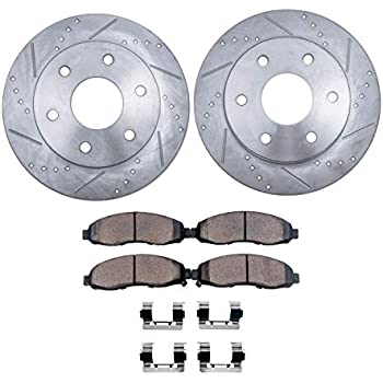 Detroit Axle - Drilled & Slotted Front Brake Rotors & Ceramic Pads w/Clips  Hardware Kit for 2007-2009 Ford Expedition - [2007-2009 Lincoln Navigator]