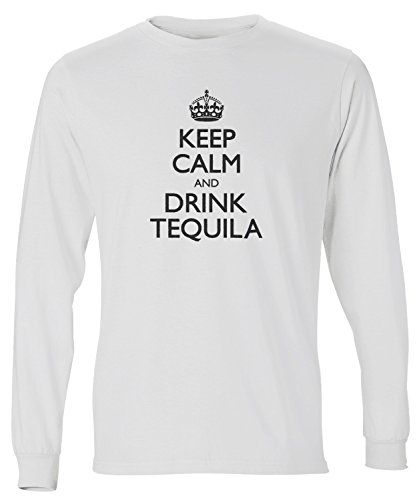 Calm And Drink Tequila Long Sleeve T-Shirt, White 3XL ()