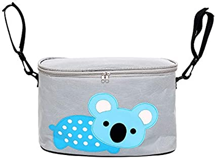 SQKJ JXCHT Baby Stroller Organizer Diaper Bags Travel Baby Bags for Moms Carriage Pram Hanging Cup Bottles Holder Bags Stroller Accessories Color : Blue Elephant TI508