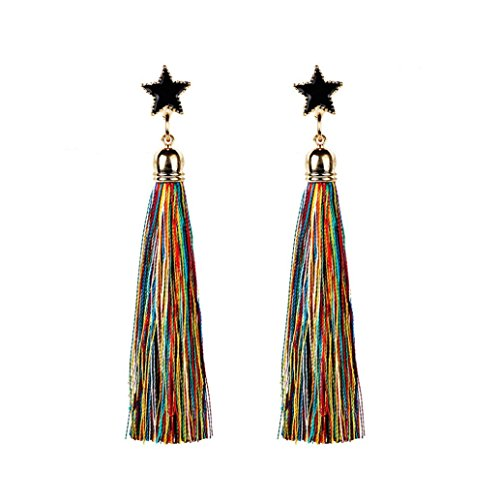 Elogoog Handcraft Gorgeous Long Tassel Drop Dangle Stud Earrings For Wedding Party Dance Jewelry (Yellow 3) ()