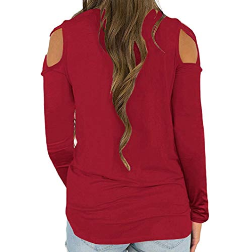 Chemisier Sixcup Haut Col Vin Froid Rouge Couleur Blouses Tops Shirt Traverser Manches Longues Accueil Pure Chemise T Rond rrnZx4