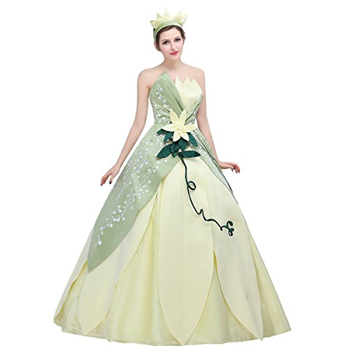Angelaicos Womens Hand Sewing Leaf Design Layered Costume Dress Party Ball Gown (M) Green -