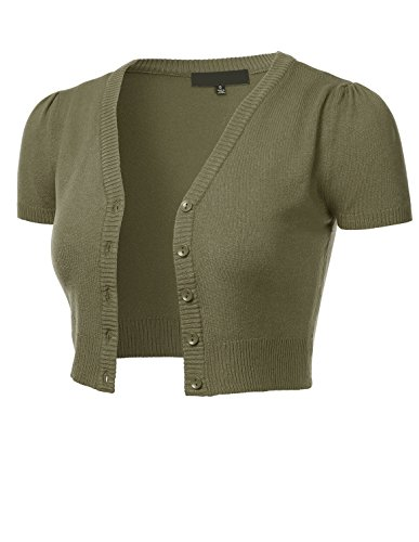 FLORIA Womens Button Down Short Sleeve Cropped Bolero Cardigan Sweater Olive M