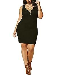 Women's Plus Size Sexy Halter Deep V Vest Sleeveless Casual Dress 3xl 2xl xl