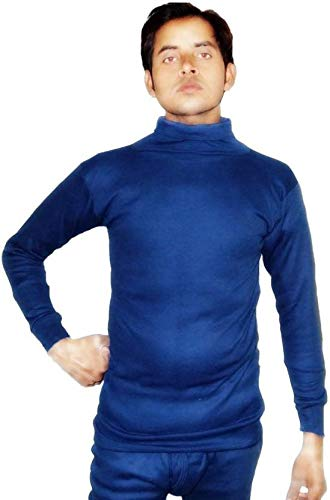 4625d59e41 Alfa Men s Woollen High Neck Top Thermal Innerwear and 1 Pair Socks (Blue