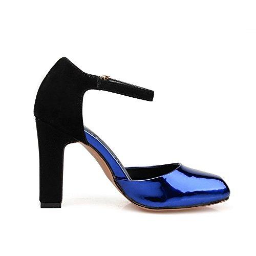 Amoonyfashion Hebilla De Cuero Para Mujer Square Tacones Cerrados De Tacón Alto Zapatos Sólidos Bombas Royalblue