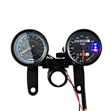IZTOSS Motorcycle black Odometer Speedometer and Tachometer with Bracket for Yamaha SR XV RX Cafe Racer Suzuki Honda Kawasaki