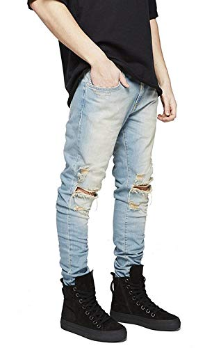 Stretch Jeans Semplice Slim Pantaloni Stile Blau Denim Fit Strappati Da Casual Uomo Vintage Fashion Elasticizzati O1nZOrqw