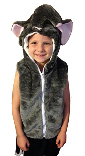 Fashion Vest with Animal Hoodie for Kids - Dress Up Costume - Pretend Play (Small, Elephant) -