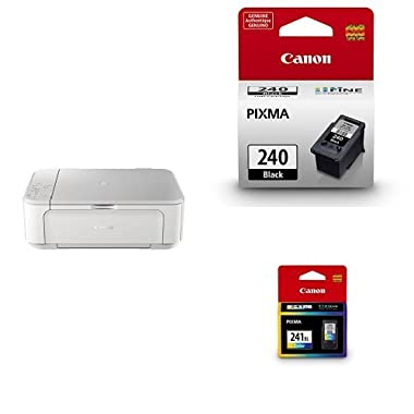 Canon Wireless All-in-One Color Inkjet Printer with Mobile and Tablet Printing, White + Cartridge Ink Black + Color Ink Cartridge