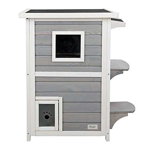 Petsfit 2-Story Weatherproof Outdoor Kitty Cat House/Condo/Shelter with Escape Door 20″Lx20″Wx32″H 41LO17tOp4L