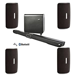 Polk Audio Omni SB1 Plus Premium Home Theater Sound Bar with Wireless Subwoofer - Bundle With 4x Polk Audio Omni S2 Collection Wireless Multi Room Speaker