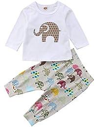 3Pcs/Set Newborn Baby Girl Boy Long Sleeve Elephant Bodysuit + Geometric Pants + Headband Outfit Clothes