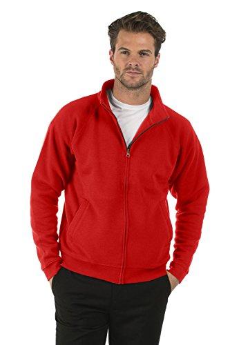 Cremallera Hombres Chaqueta Full Clásico Señoras Con Bruntwood Completa Poliéster Jacket Rojo Algodón Classic Sudadera Zip Sweat y 280GSM wEBCHqP