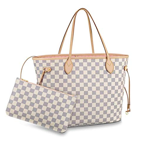 (Womens Classic Canvas Neverfull Top-Handle Tote Bag Large Volume Shoulder Bag (MM 32cm, damier Azure with pink inside))