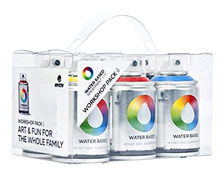 Mtn Colors Water Based Spray Paint Workshop Pack 6 X 100ml Cans