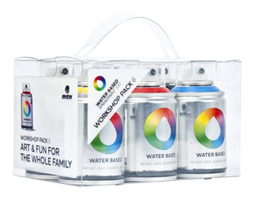 MTN Colors - Water Based Spray Paint Workshop Pack - 6 x 100ml Cans (Graffiti Can Spray)