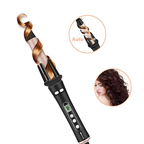 Curling Iron Hair Curler Automatic Hair Curling Wand,Auto Wavy Curling Iron 1 inch 30s Instant Ceramic Heat Wand and LCD Temp display Dual Voltage 110v-220v