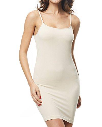 (KHAYA Women's Spaghetti Straps Straight Dress Long Cami Full Slip Dress Nude L)
