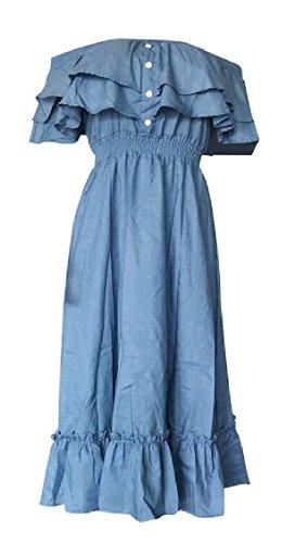 Jaycargogo Épaule D'été Des Femmes Hors Robe Volantée Balançoire Midi Bleu