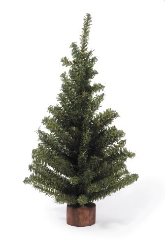 Darice Mini Canadian Pine Tree with Wood Base (1pc), Green - Spread Holiday Décor Around Your Home - Artificial Tree Has 124 Tips and Works Great with Mini Ornaments and Lights, 18