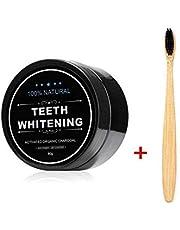 FOXTSPORT Polvo de Dientes + Cepillo de dientes de bambú, Polvo Blanqueador de dientes, Blanqueador Dental de Carbón Activado, Dientes Blancos,Teeth Whitening Powder