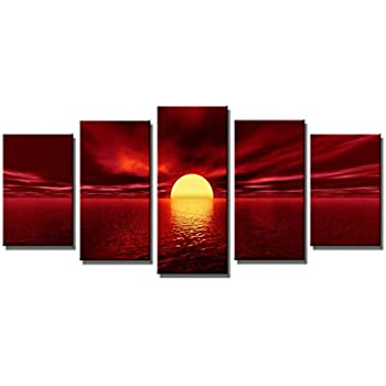 Wieco Art Red Sun Canvas Prints Wall Art Ocean Sea Beach Pictures Paintings  Ready To Hang For Living Room Bedroom Home Decorations Modern 5 Piece  Stretched ...