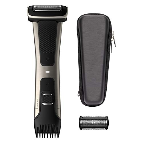 Philips Norelco Bodygroomer BG7040/42 - skin friendly, showerproof, body trimmer and shaver with case and replacement head, silver