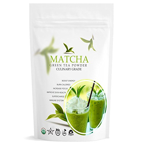 Organic Matcha Green Tea Powder (16oz) - USDA Organic - Great Color, Flavor and Aroma, Perfect for Making Green Tea Latte or Frappe