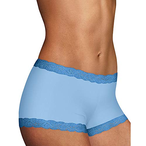 Microfiber Shorts Lace (Maidenform Women's Microfiber with Lace Boyshort, Zen Blue, 9)