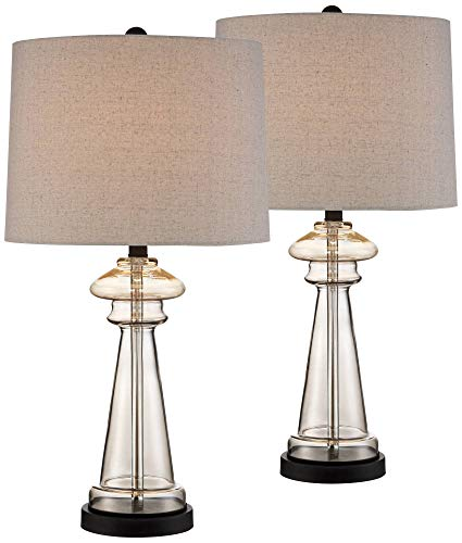(Dalia Cottage Table Lamps Set of 2 Champagne Gold Glass Taupe Drum Shade for Living Room Family Bedroom Bedside Nightstand - 360 Lighting)