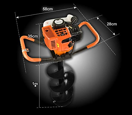 82cc Post Hole Digger Auger Petrol Drill Bit Fence Earth Borer 100 150 200 ultrasharp blades by Horti Power (Image #6)