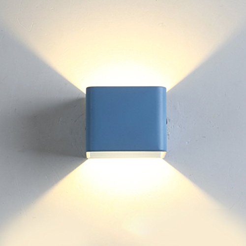 Topdeng Cube Wall Lamp, Macarons Led Energy Saving Aluminum Wall Lighting, Living Room Bedroom Cafe Bar/Pub Wall Sconce-Blue Cold White