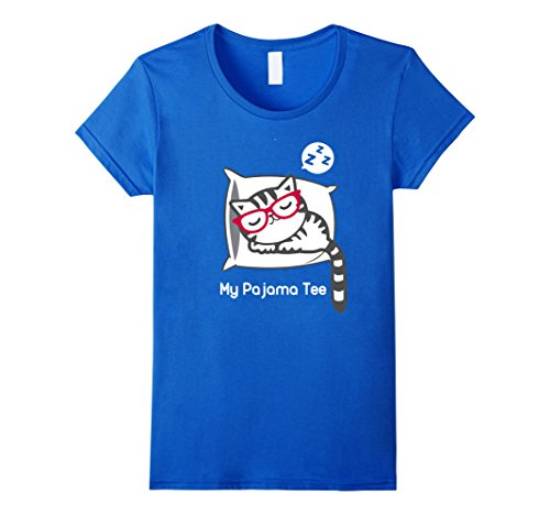 Womens Cat Pajama Shirt Cute Sleeping Kitty with Glasses ...