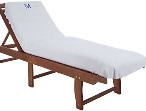 Strange 100 Cotton Lounge Chair Cover With Personalized Monogrammed Letters Thick Super Soft Plush And Highly Absorbent Cotton Terry Towel Bright White Alphanode Cool Chair Designs And Ideas Alphanodeonline