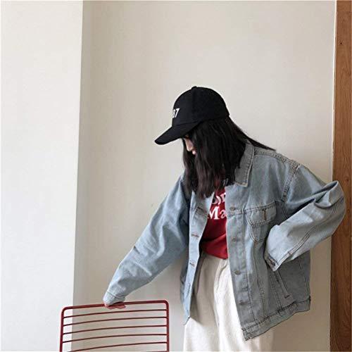 Fashion Autunno Jacket Primaverile Cappotto Women Libero Fidanzato Blau Lunga Giovane Bavero Donna Baggy Denim Outerwear Stile Giacche Manica Eleganti Jeans Vintage Tempo qZxwwnS6AE