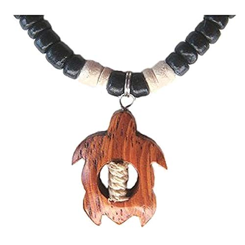 - Hawaiian Koa Wood Honu Sea Turtle Coconut Shell Pendant