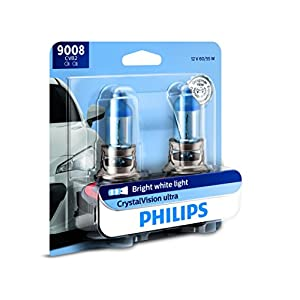 Philips 9008 / H13 CrystalVision Ultra Upgraded Bright White Headlight Bulb, 2 Pack