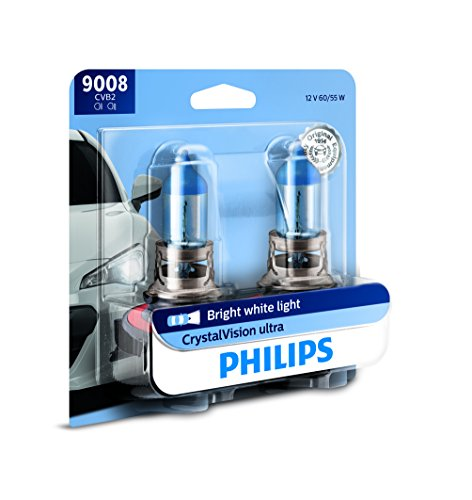 (Philips 9008 / H13 CrystalVision Ultra Upgrade Bright White Headlight Bulb, 2 Pack)