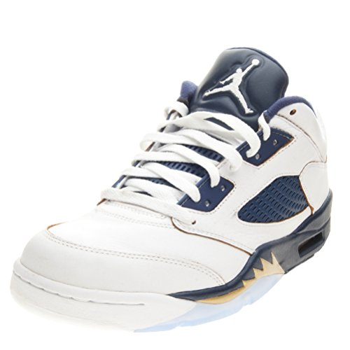 NIKE Mens Air Jordan 5 Retro Low Dunk from Above White/Metallic Gold-Midnight Navy Leather Size 11